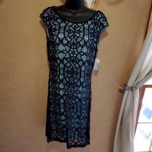 Navy w/teal liner sleeveless lace dress Sz 10  NWT
